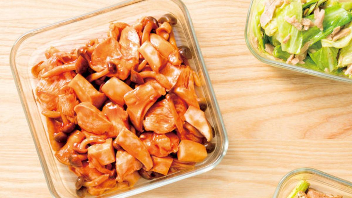 鶏肉ときのこのケチャップ炒め
